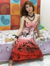 Ladyboy model Sapphire Young in beautiful dress