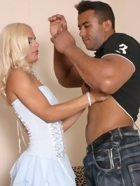 Blonde shemale babe sucks monster ebony cock