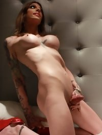 tattooed tranny babe Tiffany Starr in solo porn gallery