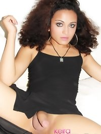 teen shemale model Keira Verga in black lingerie